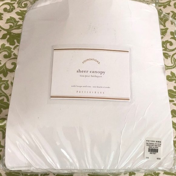 Pottery Barn White Sheer Canopy Romantic Cotton Bedding New in Package